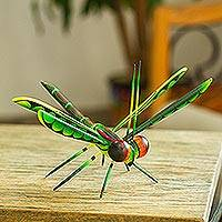 Wood alebrije sculpture, 'Sweet Freedom in Green' - Handcrafted Green Copal Wood Dragonfly Sculpture.from Mexico