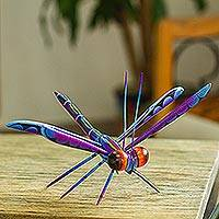 Wood alebrije sculpture, 'Sweet Freedom in Blue' - Handcrafted Blue Copal Wood Dragonfly Sculpture from Mexico