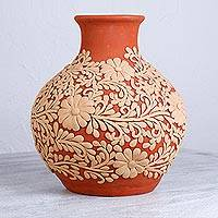 Ceramic vase, 'Flowers of Tradition' - Floral Patterned Handcrafted Ceramic Vase from Mexico