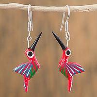 Wood alebrije dangle earrings, 'Hummingbirds in Flight' - Handcrafted Wood Alebrije Hummingbird Earrings from Mexico