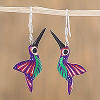 Wood alebrije dangle earrings, 'Loving Hummingbirds' - Copal Wood Alebrije Hummingbird Dangle Earrings from Mexico