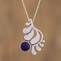 Sterling silver pendant necklace, 'Windy Frond' - Sterling Silver and Enameled Bronze Necklace from Mexico