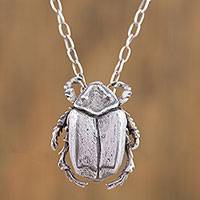 Sterling silver pendant necklace, 'Lucky Scarab' - Sterling Silver Scarab Beetle Pendant Necklace from Mexico