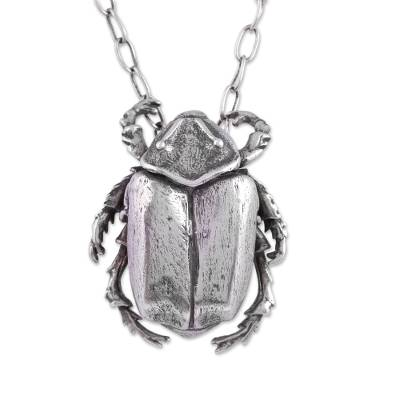 Sterling Silver Scarab Beetle Pendant Necklace from Mexico
