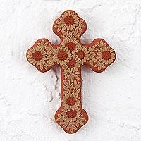 Ceramic wall cross, 'Nature and Faith' - Handmade Ceramic Wall Cross with Floral Motifs from Mexico