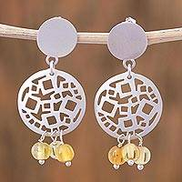 Amber dangle earrings, 'Mexican Drama' - Amber and Sterling Silver Dangle Earrings from Mexico