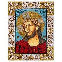 Beaded embroidery panel, 'Christ's Crown of Thorns' - Beaded Panel Jesus Crown of Thorns with Hand Embroidery
