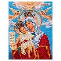 Beaded embroidery panel, 'Angels Adoring the Virgin' - Virgin Mary and Jesus Hand Embroidered Beaded Panel