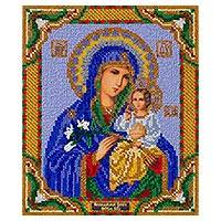 Beaded embroidery panel, 'Virgin Mary with Lilies' - Beaded Panel Virgin Mary and Jesus with Hand Embroidery