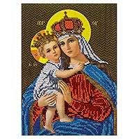 Beaded embroidery panel, 'Mary Queen of Heaven' - King of Kings and Queen of Heaven Hand Beaded Panel