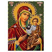 Beaded embroidery panel, 'Mother of God' - Christian Art Beaded Panel with Hand Embroidery