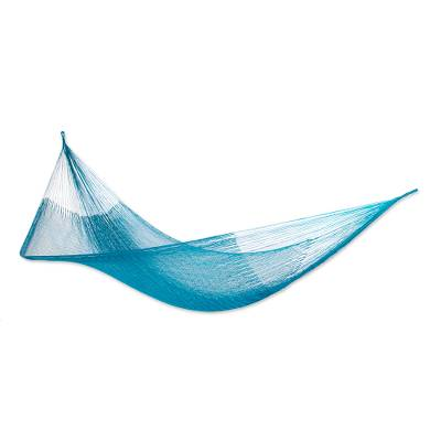Hand Woven Teal Hammock from Mexico (Single)