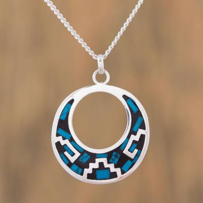 Turquoise pendant necklace, 'Window of History' - Geometric Turquoise Pendant Necklace from Mexico