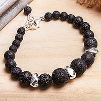 Lava stone and sterling silver beaded necklace, 'Complementary Textures' - Sterling Silver and Lava Stone Beaded Bracelet from Mexico