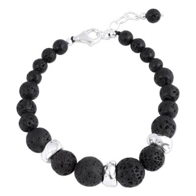Sterling Silver and Lava Stone Beaded Bracelet from Mexico