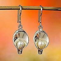 Cultured pearl dangle earrings, 'Purity and Elegance' - Handcrafted Cultured Mabe Pearl Dangle Earrings from Mexico