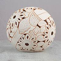 Ceramic home accent, 'Alabaster Nature' - Alabaster Sphere Home Accent with Floral and Bird Motifs