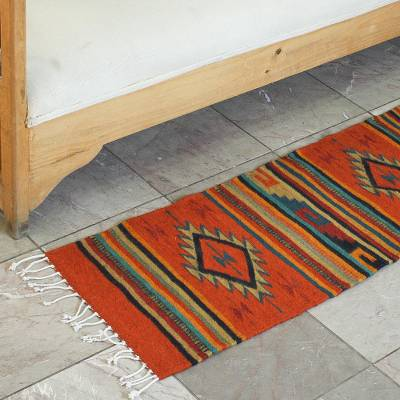 Wool runner rug, 'Frets and Diamonds' (1.2 x 5.2) - Naturally Dyed Wool Rug Mayan Design Multicolored 1.2 x 5.2