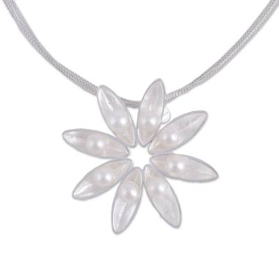 Floral Cultured Akoya Pearl Pendant Necklace from Mexico
