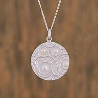 Cultured Akoya pearl pendant necklace, 'Circular Time' - Circular Cultured Akoya Pearl Pendant Necklace from Mexico