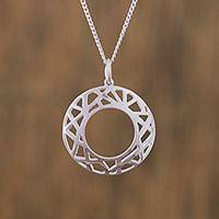 Sterling silver pendant necklace, 'Subtle Webs' - Openwork Sterling Silver Pendant Necklace from Mexico
