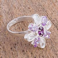 Sterling silver cocktail ring, 'Lilac Crystals' - Purple Sterling Silver Cocktail Ring from Mexico
