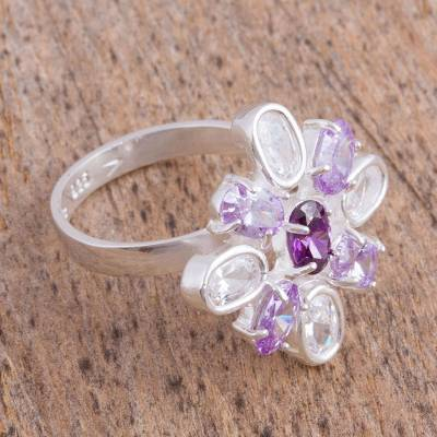 Purple Sterling Silver Cocktail Ring from Mexico