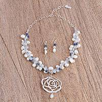 Cultured pearl and lapis lazuli jewelry set, 'Essence of Rose' - Multi Gemstone Necklace and Earring Set from Mexico