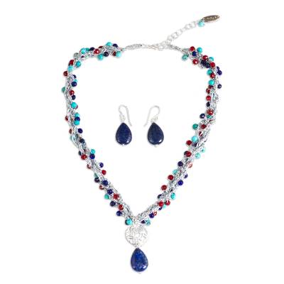 Multi Gem Beaded Necklace and Earring Set from Mexico