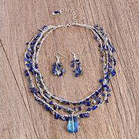 Lapis lazuli and crystal jewelry set, 'Ocean Meditation' - Lapis Lazuli and Crystal Beaded Necklace and Earring Set