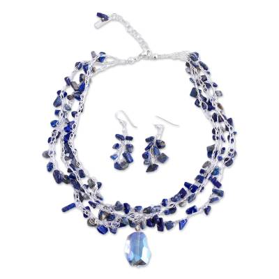 Lapis Lazuli and Crystal Beaded Necklace and Earring Set