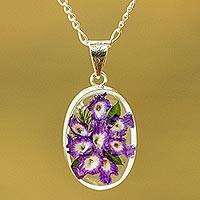 Natural flower pendant necklace, 'Enduring Flowers' - Purple Natural Flower Pendant Necklace from Mexico