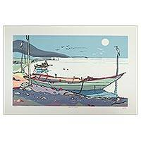 'Mexican Lake' (2005) - Original Signed Silk Screen Print Lake Scene from Chapala