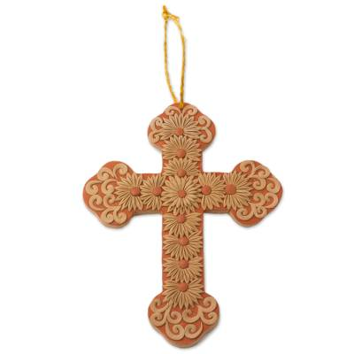 Handmade Floral Ceramic Wall Cross from Mexico