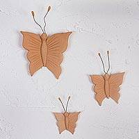 Ceramic wall art, 'Butterfly Flight' (set of 3) - Handmade Ceramic Butterfly Wall Art from Mexico (Set of 3)