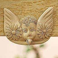Ceramic wall art, 'Watch Over Me' - Handcrafted Ceramic Angel Wall Art from Mexico