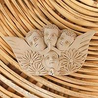 Ceramic wall art, 'Angels on Earth' - Handcrafted Ceramic Angel Wall Art from Mexico