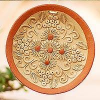 Ceramic wall art, 'Nature of My Village' - Handmade Circular Floral Ceramic Wall Art from Mexico