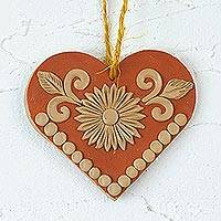 Ceramic wall art, 'Heart of My Home' - Handmade Floral Heart Ceramic Wall Art from Mexico
