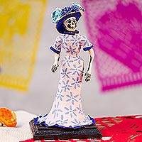 Papier mache sculpture, 'A Very Elegant Catrina' - Hand-Painted Catrina Papier Mache Sculpture from Mexico
