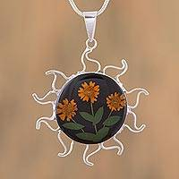 Natural flower pendant necklace, 'Sunny Sunflowers' - Natural Flower Sunflower Pendant Necklace from Mexico