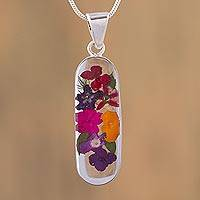 Natural flower pendant necklace, 'Soulful Bouquet' - Colorful Natural Flower Pendant Necklace from Mexico