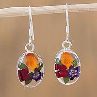 Natural flower dangle earrings, 'Fresh Petals' - Colorful Natural Flower Dangle Earrings from Mexico