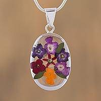 Natural flower pendant necklace, 'Sublime Flowers' - Natural Flower and 925 Silver Pendant Necklace from Mexico