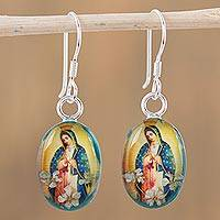 Natural flower dangle earrings, 'Flowering Faith' - Religious Natural Flower Dangle Earrings from Mexico