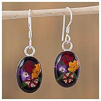 Natural flower dangle earrings, 'Colorful Bouquet' - Oval Natural Flower Dangle Earrings from Mexico