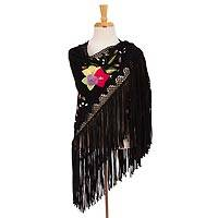 Cotton applique shawl, 'Flirtatious Black Fringe' - Artisan Handcrafted Floral Applique Black Cotton Shawl