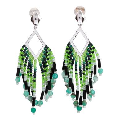 Glass Beaded Green Agate Waterfall Earrings from Mexico