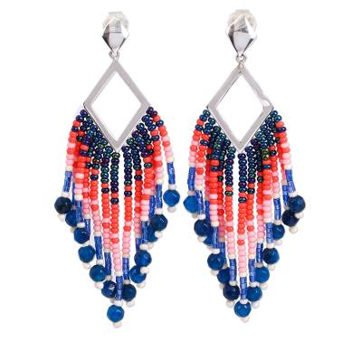Glass Beaded Blue Agate Waterfall Earrings from Mexico