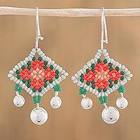 Sterling silver dangle earrings, 'Path to Wirikuta' - Sterling Silver and Glass Bead Huichol Earrings from Mexico